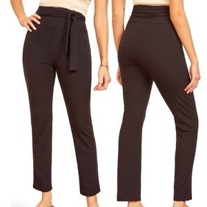 Reformation Black Kassia Tie Waist Ribbed Pant